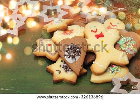 homemade christmas cake - stock photo