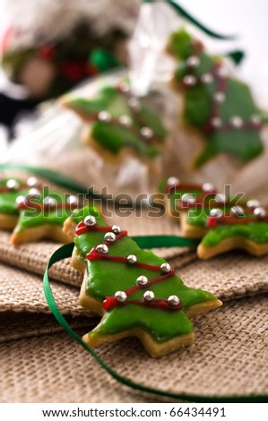 Homemade Christmas cookie tree with decoration - stock photo