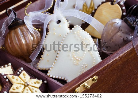 Homemade christmas cookies in wooden gift box. Selective focus