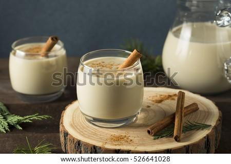 Homemade Christmas Eggnog Cinnamon Nutmeg Stock Photo ...