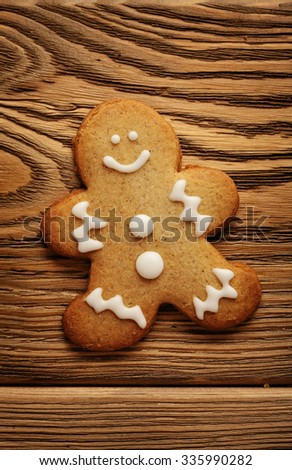 homemade christmas gingerbread cookie on wooden background - stock photo