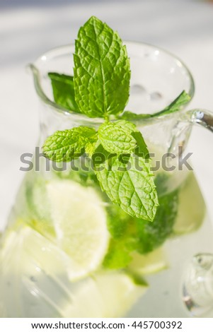 Homemade classic mojito with mint and lime