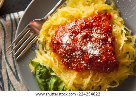Homemade Cooked Spaghetti Squash Pasta with Marinara Sauce - stock photo