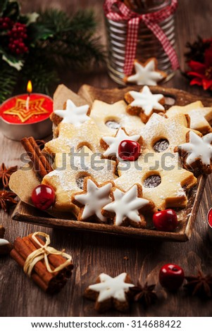 Homemade cookies in start shape for Christmas  - stock photo