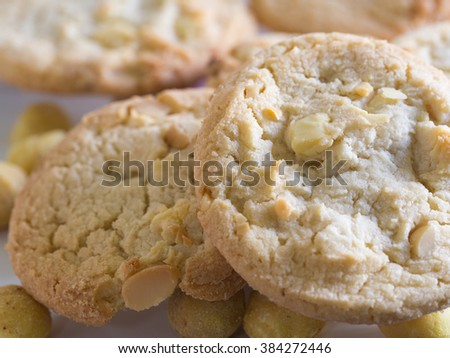 Homemade Cookies with Macadamia nuts and white chocolate  - stock photo