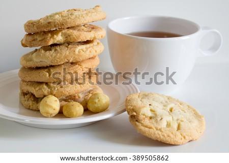 Homemade Cookies with Macadamia nuts and white chocolate  - stock photo