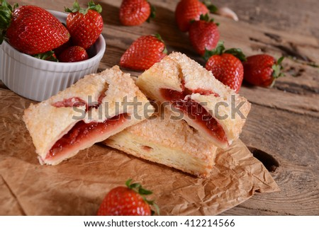 Homemade cookies with strawberries - stock photo