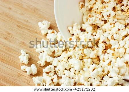 Homemade corn popcorn close up - stock photo