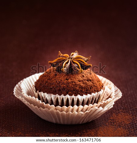 Homemade cupcake decorated with cocoa powder. Selective focus - stock photo