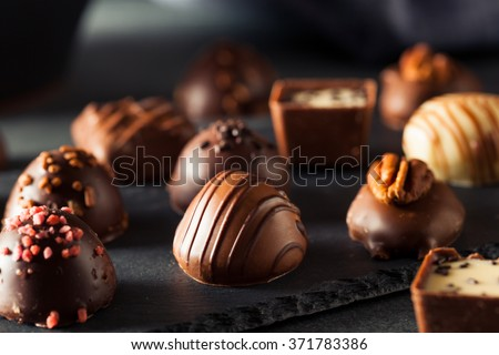 Homemade Dark Chocolate Truffles for Valentine's Day - stock photo