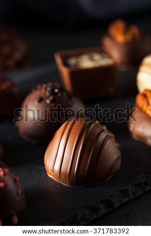 Homemade Dark Chocolate Truffles for Valentine's Day - stock photo