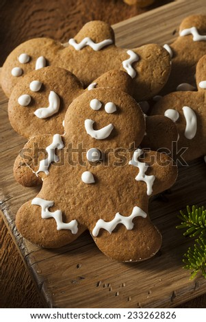 Homemade Decorated Gingerbread Men Cookies for Christmas - stock photo