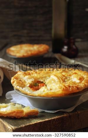 homemade delicious chicken pie. selective focus - stock photo