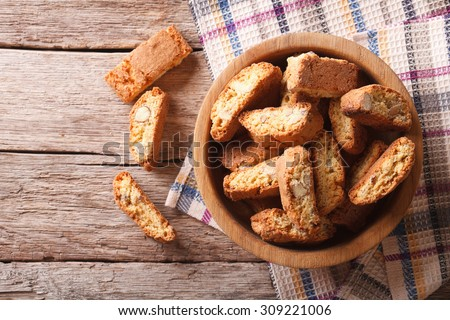 Homemade delicious cookies biscotti with almonds on the table. horizontal view from above