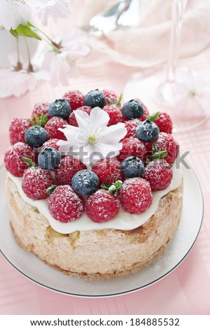 Homemade delicious fruit cake with berries garnish. Selective focus. - stock photo