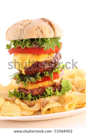 homemade double burger isolated on grey