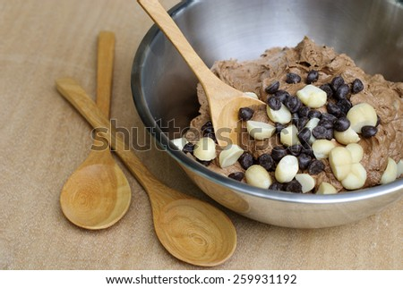 Homemade Double Chocolate Chip Cookie Dough in mixing bowl prepare for bake.  - stock photo