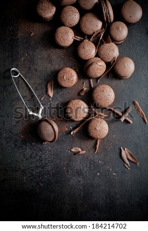 Homemade double chocolate macaroons with chocolate filling - stock photo