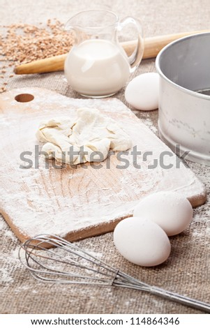 Homemade dough with eggs and milk