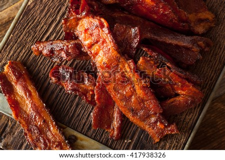 Homemade Dried Barbecue Bacon Jerky with Salt