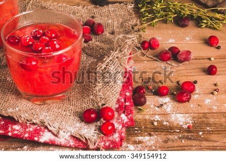 Homemade Drink. Christmas Cranberry Drink. Selective Focus. - stock photo