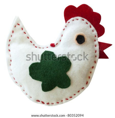 Homemade easter decoration on white background - stock photo