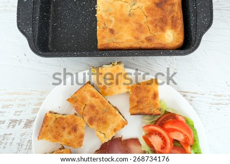 Homemade Egg Pie with Sausages and Vegetables - stock photo