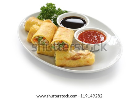 homemade egg rolls, vegetarian food