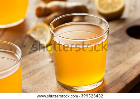 Homemade Fermented Raw Kombucha Tea Ready to Drink - stock photo