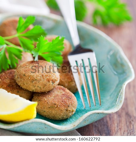 Homemade fish cakes (Cutlets), selective focus - stock photo