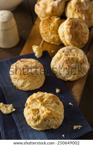 Homemade Flakey Buttermilk Biscuits Ready to Eat - stock photo