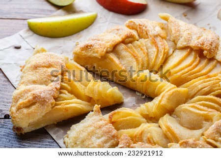 Homemade fresh apple galette - stock photo