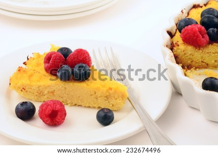 Homemade fresh baked ricotta and coconut flour cheesecake for a gluten free treat - stock photo