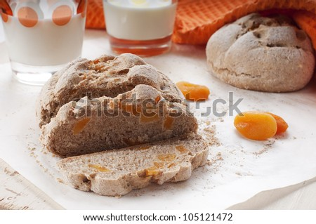 Homemade fresh bread with dried apricots