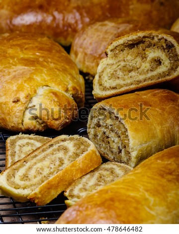 Homemade freshly baked nut rolls for the holidays