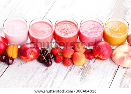 homemade fruity smoothies - food and drink - stock photo