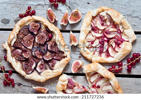 Homemade  galetts with fruits figs and apples - stock photo