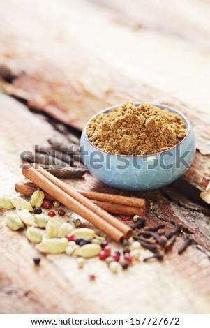 homemade garam masala - herbs and spices - stock photo