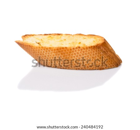 Homemade garlic bread of French baguette  over white background  - stock photo