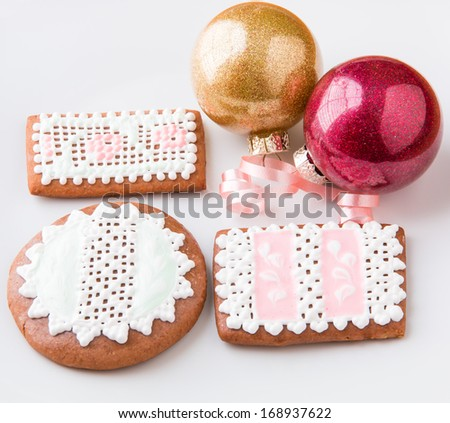 Homemade gingerbread cookies and Christmas decoration. - stock photo