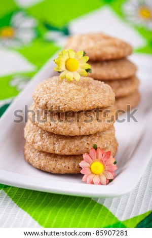 Homemade gingerbread cookies on white plate - stock photo