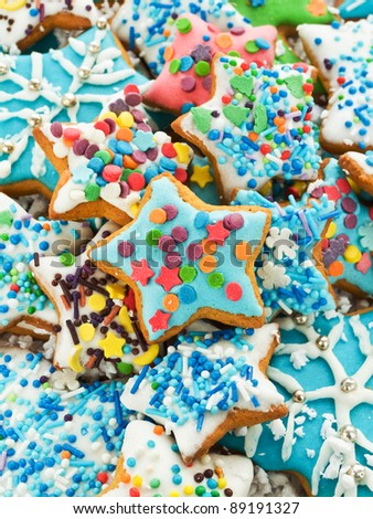 Homemade gingerbread cookies with colored icing. Shallow dof.