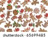 Homemade Gingerbread cookies with different shapes isolated on white background - stock photo