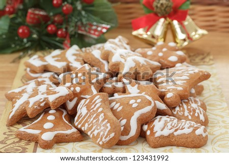 homemade gingerbreads and decoration on wooden table