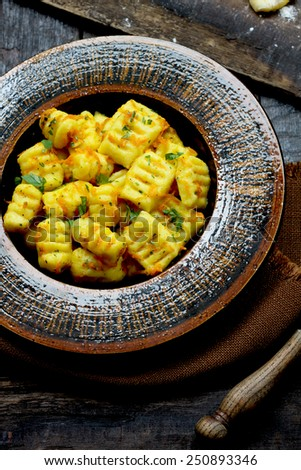 Homemade gnocchi - stock photo