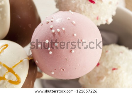 Homemade Gourmet Cakepops ready to be served - stock photo