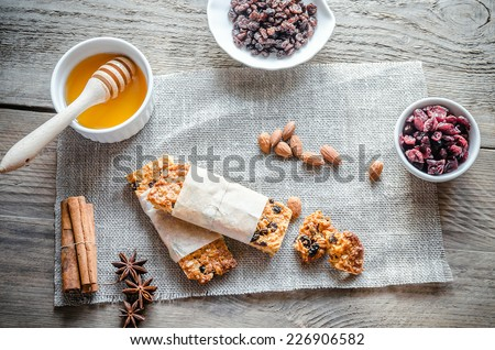 Homemade granola bars on the sackcloth - stock photo