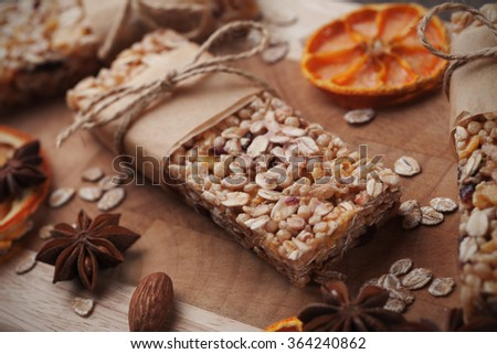 Homemade granola bars with cereals and dried fruit - stock photo