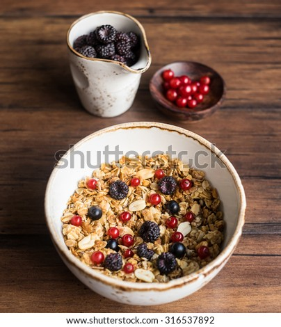 Homemade granola or muesli with oat flakes, corn flakes, dried fruits and toasted peanuts with fresh red and black currant and blackberry in a bowl, selective focus - stock photo