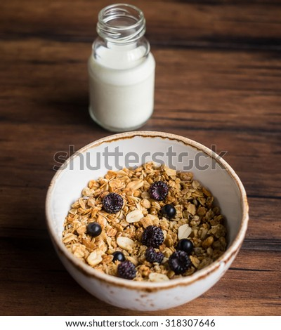 Homemade granola or muesli with oat flakes, corn flakes, dried fruits and toasted peanuts with fresh berries in a bowl for breakfast and a bottle of fresh milk, selective focus - stock photo